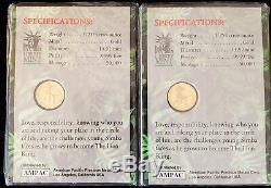 (2) Disney The Lion King Pure 24k Gold Commemorative Coins 1/25 oz Liberty Mint