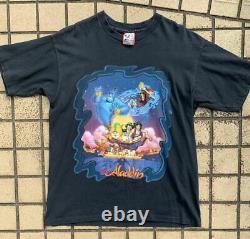 90s Vintage Aladdin T-shirt Disney Lion King size L Black Good Condition rare