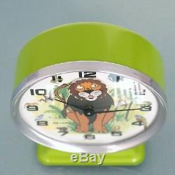 BAYARD LION KING Alarm CLOCK Disney Mantel Motion! RARE ANIMATED Vintage France