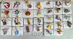 Disney Christmas Magic Grolier Lot of 30 Ornaments with Boxes Collectibles