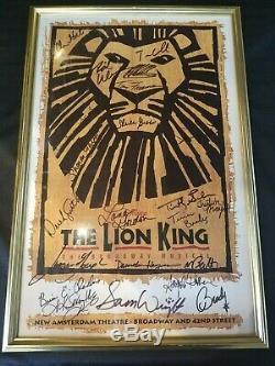 Disney's The Lion King 1997 Original Broadway Cast signed gold frame 15 x 22.5