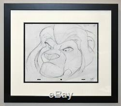 Framed Walt Disney Animation Art Production Drawing of Mufasa from The Lion King