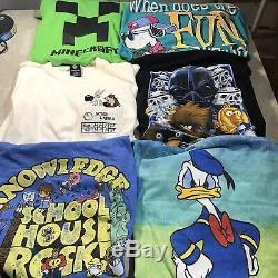 Lot Of 12 Mens T Shirts Disney Marvel Mickey Warner Bro Superman Lion King VTG