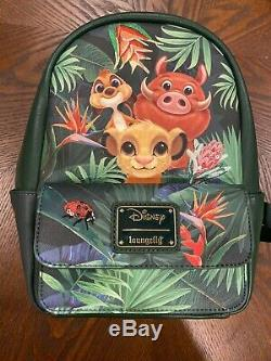 Loungefly Disney LION KING Green Simba Pumba Backpack & Card Holder Limited New