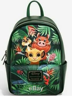 Loungefly Disney The Lion King Mini Backpack Tropical Simba, Pumbaa, Timon NEW