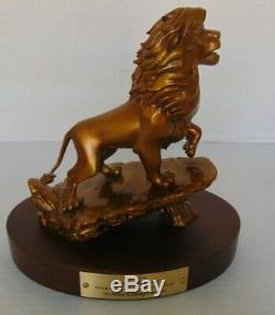 Rare Disney The Lion King Simba Bronze 20 Year Service Statue On Wooden Base