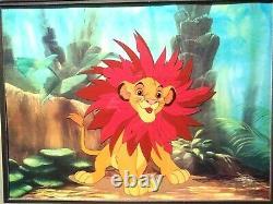 Simba The Mane Event Ltd. Ed. Disney Sericel From Lion King New, Custom Framed