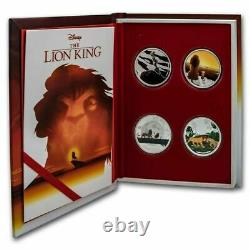 The Lion King Set Of 4 One Oz Coins, Lion King Display Bos 4 Oz. 999 Silver Auth