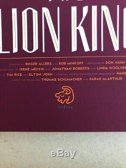 The Lion King screen print by Tom Whalen Mondo Disney movie poster art 2014 1994
