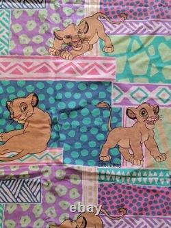 VTG 90s Disney Lion King Simba Duvet Cover Fabric Sheets Bedding Pastel #1