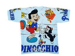 Vintage Disney Pinocchio All Over Print T shirt 90's Aladdin Lion King Mickey
