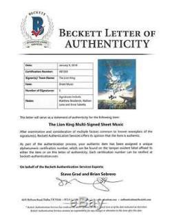 Walt Disney Lion King Signed Autographed Sheet Music Broderick Lane Beckett