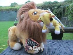 1993 Mattel Disney Le Roi Lion Mufasa & Bébé Cub Simba Avec Son Doux Jouet En Peluche
