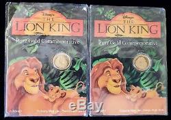 (2) Disney Le Roi Lion D'or Pur 24 Carats Pièces Commémoratives 1/25 Oz Liberté Monnaie