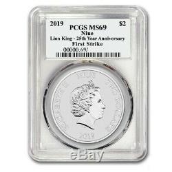 2019 Niue 1 Oz Silver 2 Disney $ Le Roi Lion 25e Anniversaire Coin Ms-69 Pcgs