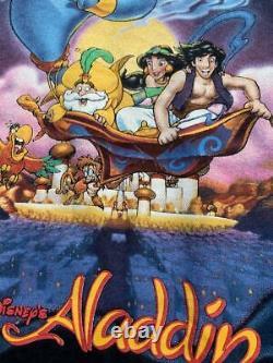 90 Vintage Aladdin T-shirt Disney Le Roi Lion Taille L Noir Bon État Rare