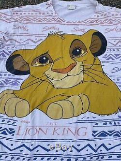 90 Vintage Disney Le Roi Lion All Over Imprimer Simba Simple T-shirt De Point