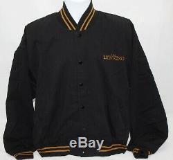 90 Vintage Disney Le Roi Lion Noir Letterman Flight Jacket Taille Bomber Grand