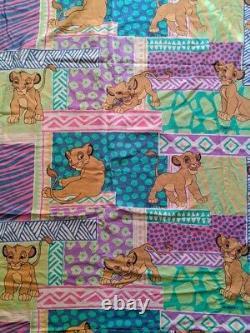 90 Vtg Disney Le Roi Lion Simba Housse De Couette Draps En Tissu Literie Pastel # 1