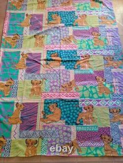 90 Vtg Disney Le Roi Lion Simba Housse De Couette Draps En Tissu Literie Pastel # 2