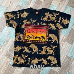 90s Vtg Rare The Lion King All Over Print Promo Black Disney USA Osfa Fedex