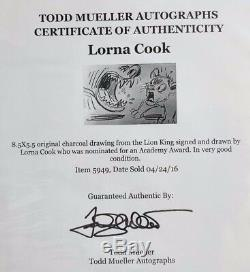Artiste Disney Lorna Cook Art Original Au Fusain Du Roi Lion, Signé Coa