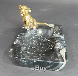Aschenbecher Marmor Löwe Disney Löhner Bronze Art Deko Haut Roi Lion