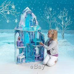 Château De Glace En Bois Disney Frozen Movie Pour Poupée Barbie Style Grande Poupée Jouet