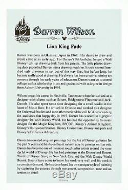 Disney Imprimer, Le Roi Lion, Simba, Nala, Darren Wilson, Signé. Nouveau Avec Coa