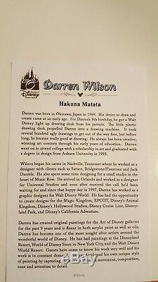 Disney, Le Roi Lion, Hakuna Matata, Darren Wilson Print Signé. Nouveau Avec Coa
