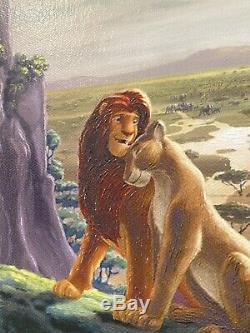 Disney Le Roi Lion Retour À La Fierté Rock Thomas Kinkade Sn 77 Toile 18x27 Encadrée