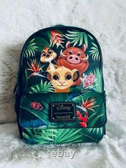Disney Loungefly Lion King Mini Sac À Dos Tropical Simba Pumbaa Timon Trio Nouveau