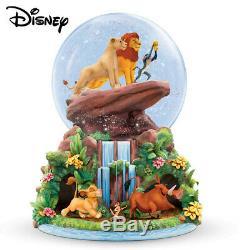 Disney Roi Lion Globe Snowglobe Simba Glitter, Nala Et Rafiki Au Sommet De Fierté Rock
