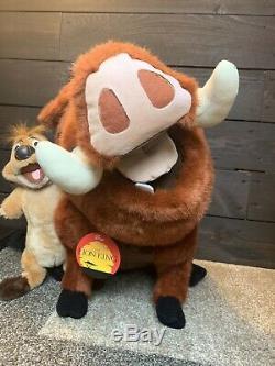 Disney Roi Lion Timon Et Pumbaa Lifesize En Peluche Douglas Cuddle Toy Rare Tn-o