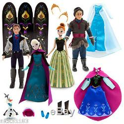 Disney Store Frozen Elsa Anna Kristoff & Hans Set Cadeau Deluxe Doll Fashion Robe