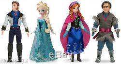 Disney Store Frozen Ensemble De Poupée Classique Elsa Anna Kristoff Hans Lot Authentic 2013