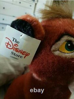 Disney Store Vintage Lion King 2 Sitting Kovu Ultra Rare Plush Jouet Nouveau Avec Des Étiquettes