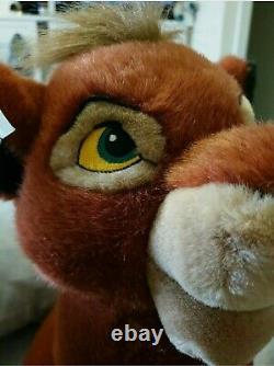 Disney Vtg Retro Lion King Sitting Kovu Ultra Rare Plush Toyl New Avec Des Étiquettes