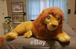 Euc Douglas Co Roi Lion Simba En Peluche Disney Énorme Jumbo Mufasa