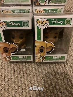 Funko Pop Disney Le Roi Lion Full Set # 85-89 Plus Floqués Simba Rare Ensemble Complet