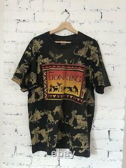 Homme 90's Vintage The Lion King All Over Print Promo Black Disney USA Osfa