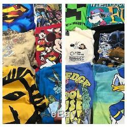 Lot De 12 Hommes T-shirts Disney Marvel Mickey Warner Bro Superman Roi Lion Vtg
