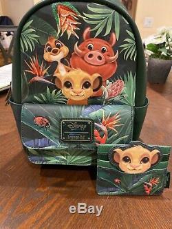 Loungefly Disney King Lion Vert Simba Pumba Sac À Dos Et Titulaire De La Carte Limited Nouvelle