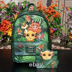 Nwt Loungefly Disney The Lion King Tropical Trio Mini Sac À Dos Et Titulaire De Carte