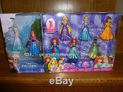 Paquet De 8 Poupées Disney Princess Magiclip Elsa Anna Merida Ariel Belle Tiana