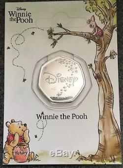 Pièce De Winnie The Pooh 50p Plaquée En Argent Sous La Licence Officielle Disney