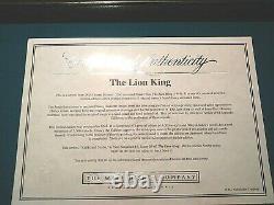 Rafiki And Simba Limited Ed. Disney Sericel From Lion King, New Mint Coa Encadré