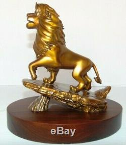 Rare Disney Le Roi Lion Simba Bronze 20 Années De Service Statue Sur La Base En Bois