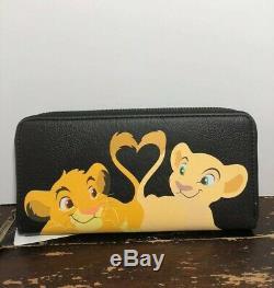 Rare Loungefly Disney Le Roi Lion Simba Et Nala Mini Sac À Dos Wallet Set Tn-o