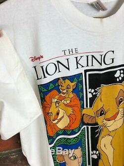 Rare Vintage Le Lion Film Roi Des Hommes De T-shirt Promo Disney Simba 90 XL